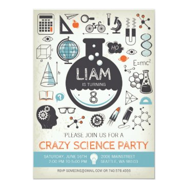 Science Birthday Invitation - Mad Scientist Party