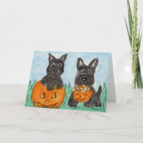 Scottie Dogs pumpkins Halloween etc. terrier Card