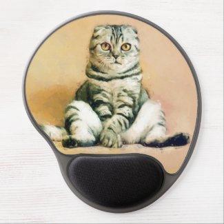 Scottish Fold Cat Sitting Portrait Gel Mouse Pad