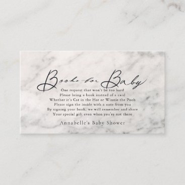Script Gray Marble Baby Shower Book Request Enclosure Card