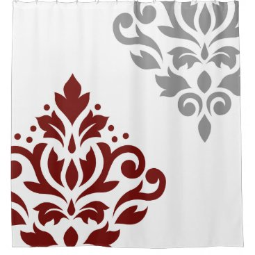 Scroll Damask Art I Red & Grey on White Shower Curtain