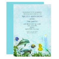 Sea Animals Beach Watercolor Party Invitations