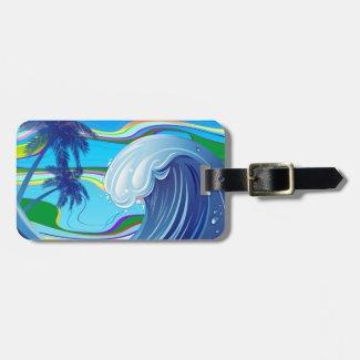 Sea Ocean big Wave Water luggage tag