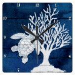 Sea Turtle Beach House Coral Vintage Blue n White Square Wall Clock