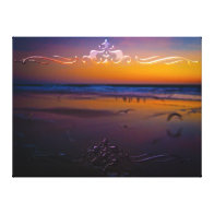 Seagulls Frolicking & Flying During Dawn on Beach Stretched Canvas Prints