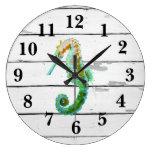 Seahorse Beach Decor Rustic Shiplap Large Clock