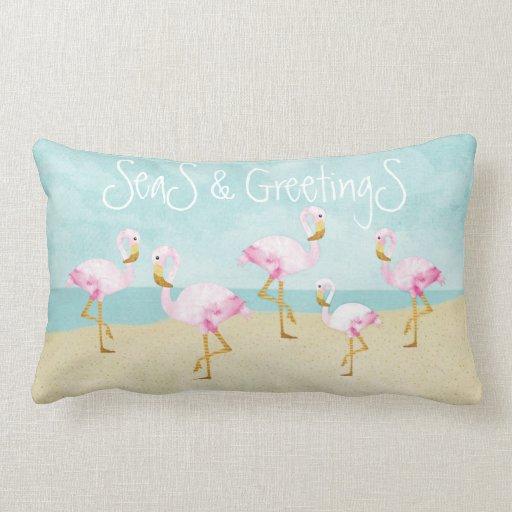 Seas and Greetings Pink Flamingos Lumbar Pillow