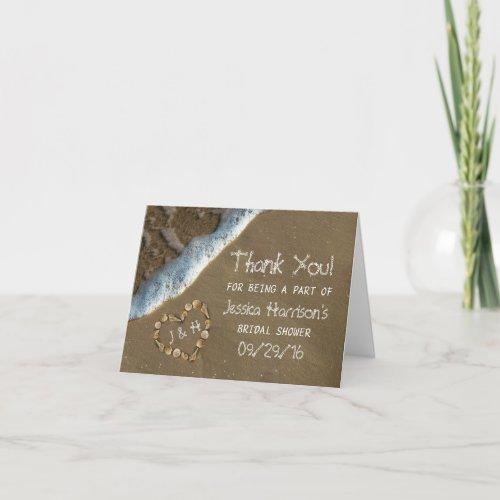 Seashell Heart Beach Bridal Shower Thank You