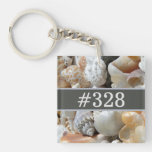 Seashells Beach Business Hotel Room Number Keychain