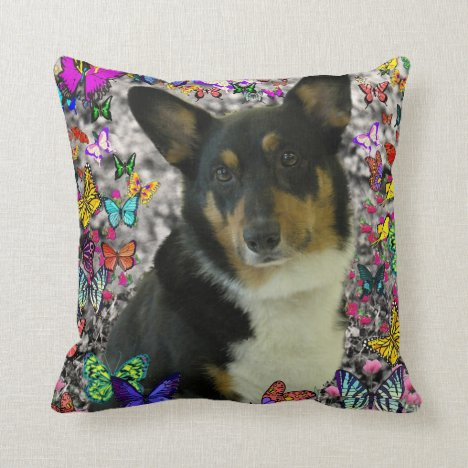 Sebastian the Welsh Corgi in Butterflies Throw Pillow