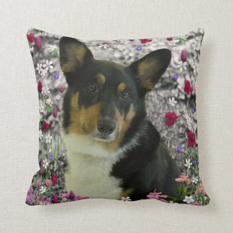 Sebastian the Welsh Corgi in Flowers Throw Pillow