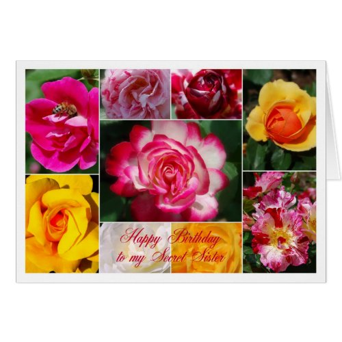Secret Sister Happy Birthday Rose Collage Yellow Greeting Card