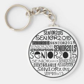 Senior 2015 Round Keychain (Black)