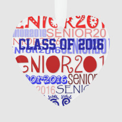 Senior 2016 Heart - Rearview Mirror Ornament