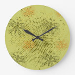 Sepia retro pattern with butterflies large clock
