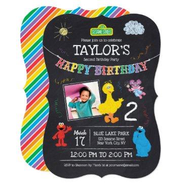 Sesame Street Pals Chalkboard Photo Birthday Invitation