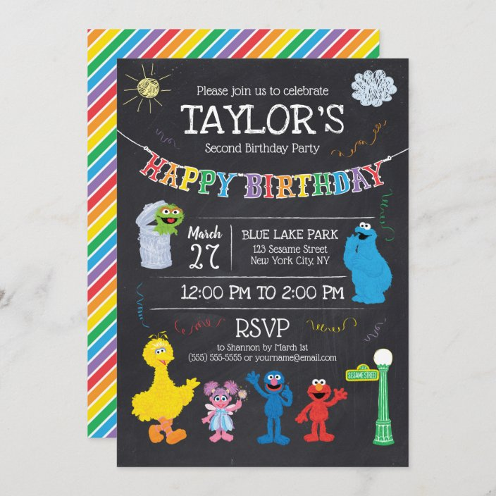 sesame street pals chalkboard rainbow birthday invitation zazzle com