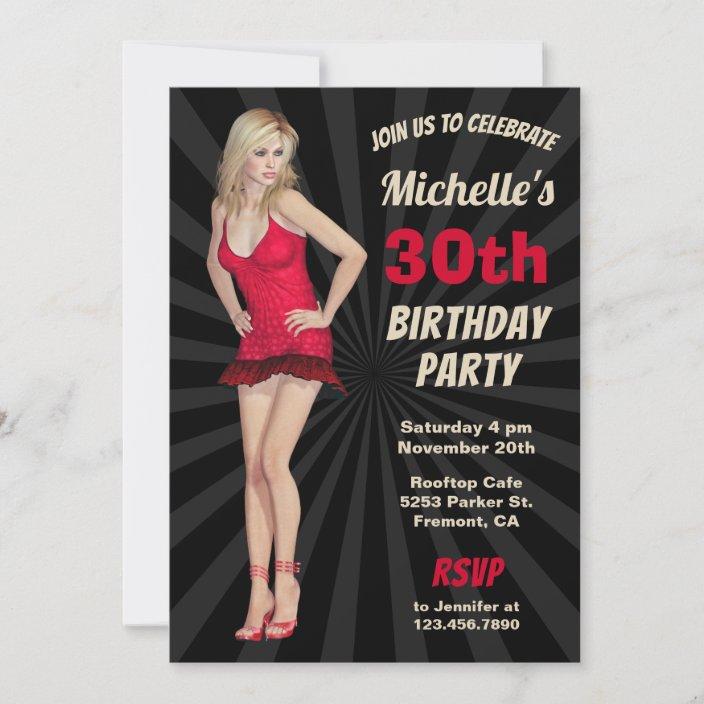 sexy hot blonde woman birthday party invitation zazzle com