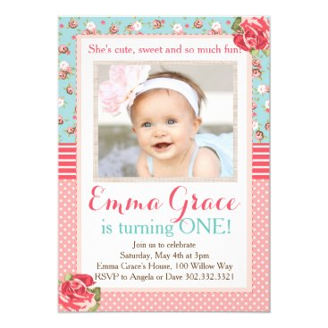 Shabby Chic Birthday Photo Invitation