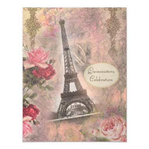 Shabby Chic Eiffel Tower & Roses Quinceanera Card