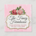 ❤️ Shabby Chic Rustic Wood Pink Floral Vintage Roses Square Business Card