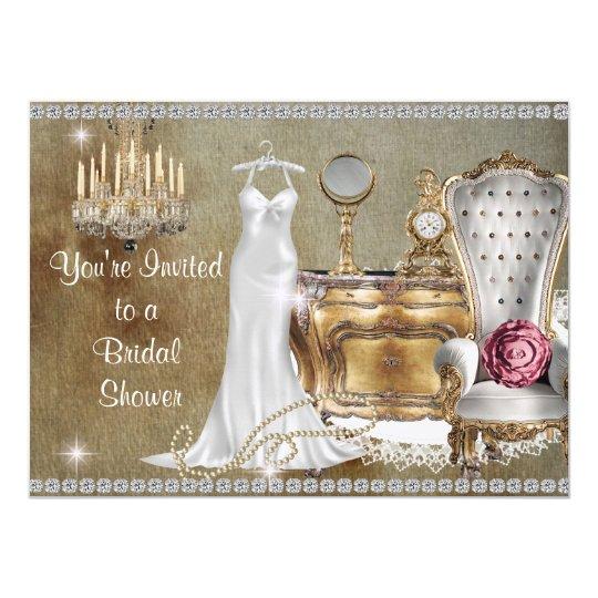 Shabby Chic Vine Bridal Shower Invitation Bling