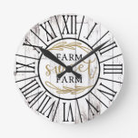 Shabby White Wood Country Farmhouse Farm Sweet Round Clock