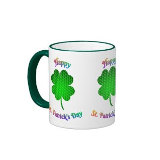 Shamrock Brick Pattern Rainbow Text Coffee Mug