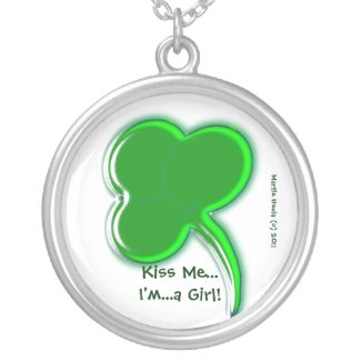 Shamrock 'Kiss Me - I'm a Girl' Necklace necklace