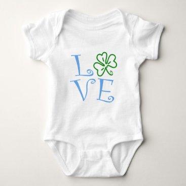 Shamrock Love - Blue and Green Baby Bodysuit