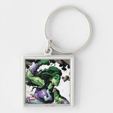 She-Hulk Smashing Through Blocks Keychain