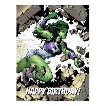 She-Hulk Smashing Through Blocks Postcard
