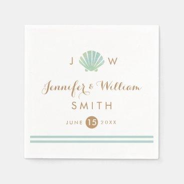 Shell Watercolor Aqua Wedding Paper Napkin