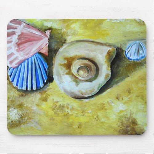 Shells on the sand mousepad mousepad