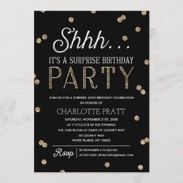 Shh Surprise Birthday Party Faux Glitter Confetti Invitation