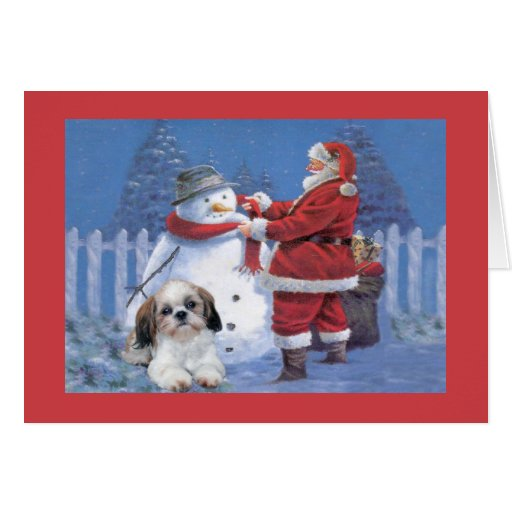 Shih Tzu Christmas Card Santa And Snowman Zazzle