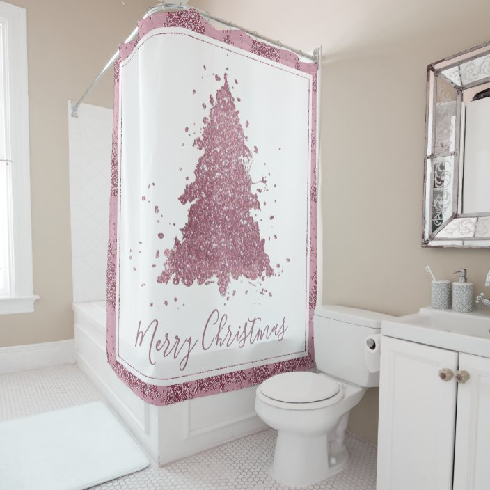 shimmer christmas trees mauve pink dusty rose shower curtain zazzle com