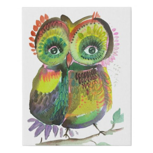 Shimmering Coot Woot owl Faux Canvas Print