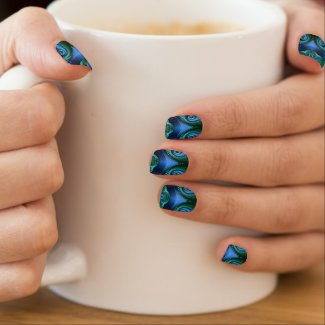 Shocking Blue/Turquoise/BLK Kaleidoscope Minx Nail