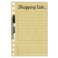 Shopping List Dry Erase White Board