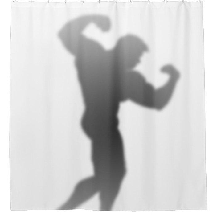 show time funny bodybuilder man silhouette shower curtain zazzle com