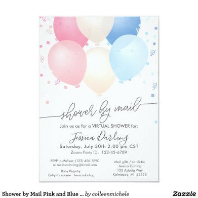 Shower by Mail Pink and Blue Balloons and Confetti Invitation