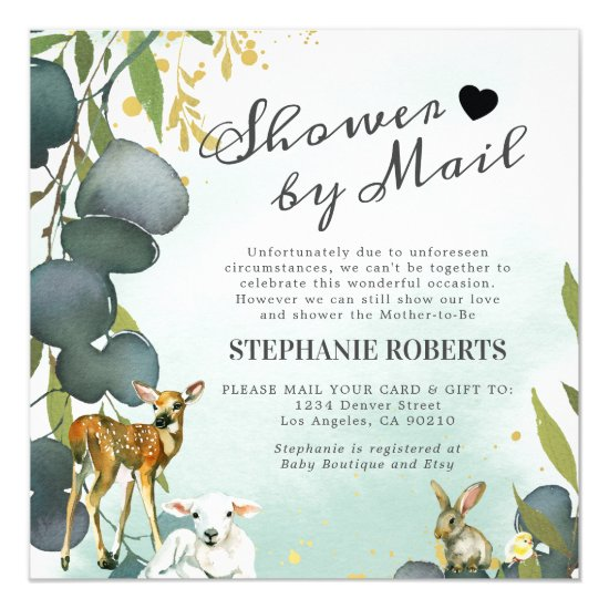 Shower By Mail | Woodland Animals Baby Shower Invitation