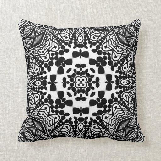 Shroomi : Black & White Geometric Tribal Cushion