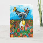 ❤️ Siamese Cat In Tulips by Bihrle Card