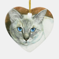 Siamese Cat Heart Christmas Ornament