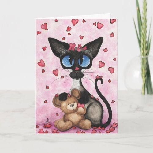 Siamese Cat Valentine Be Mine Bear by BiHrLe Holiday Card