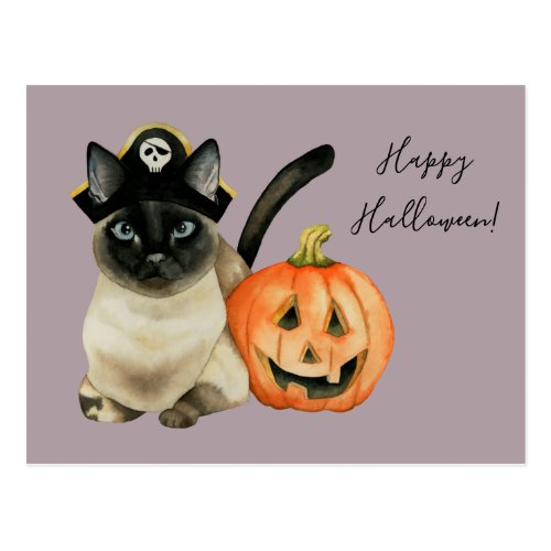 Siamese Cat with Pirate Hat | Happy Halloween Postcard