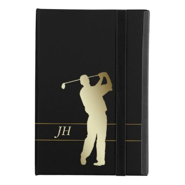 Silhouette Gold Golfer Monogram iPad Mini 4 Case