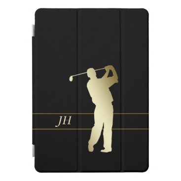 Silhouette Gold Golfer Monogram iPad Pro Cover